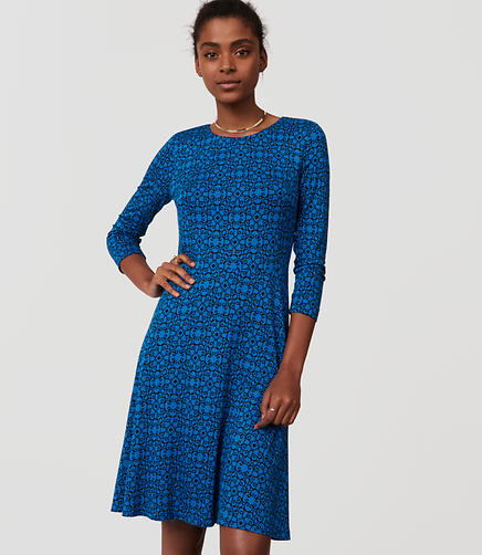 Image of Petite Filigree Print Flare Dress