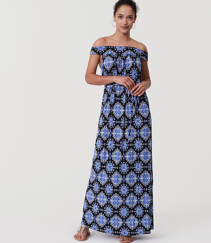 Image of Petite Medallion Off The Shoulder Maxi Dress