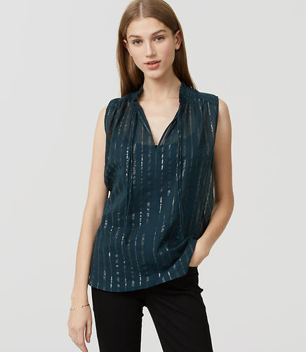 Image of Shimmer Stripe Tie Neck Shell