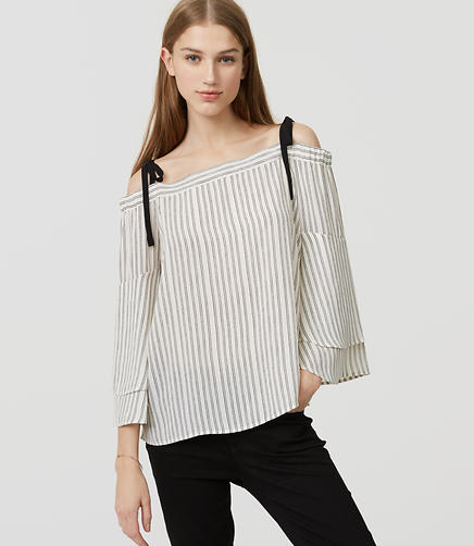 Image of Striped Strappy Off The Shoulder Blouse