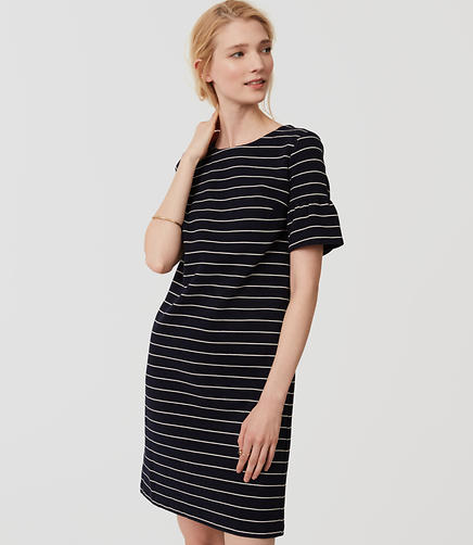 Image of Striped Short Bell Sleeve Dress