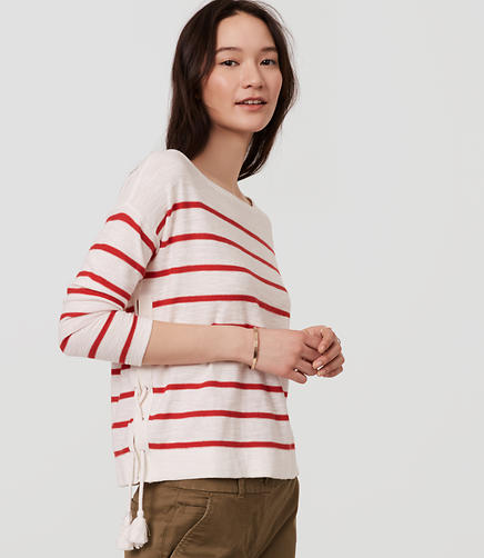 Image of Striped Lace Up Side Sweater