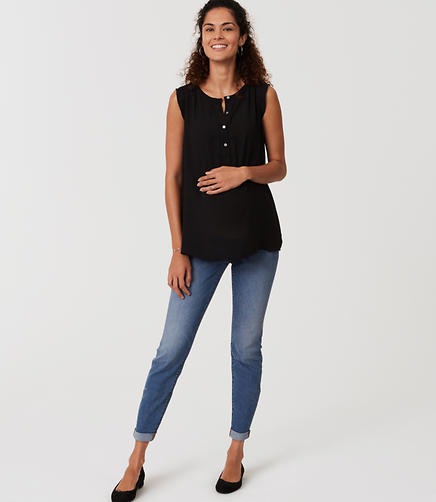 Image of Maternity Skinny Crop Jeans in Bright Mid Indigo Wash