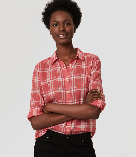 Image of Plaid Shirred Softened Shirt