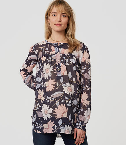 Image of Maternity Bloom Shirred Henley Blouse
