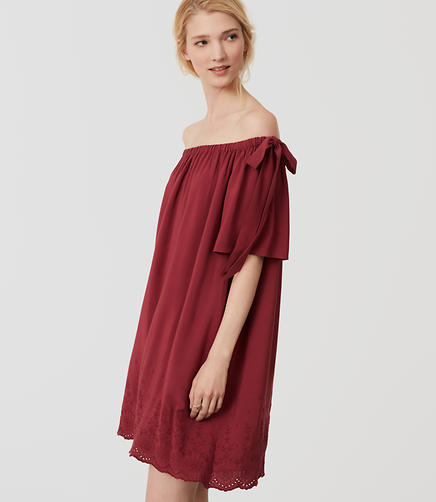 Image of Embroidered Off The Shoulder Dress