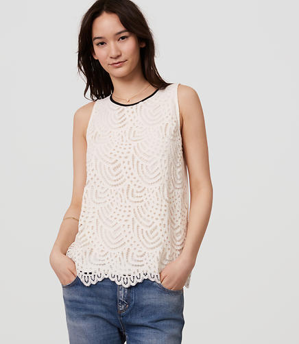 Image of Petite Lace Front Knit Shell