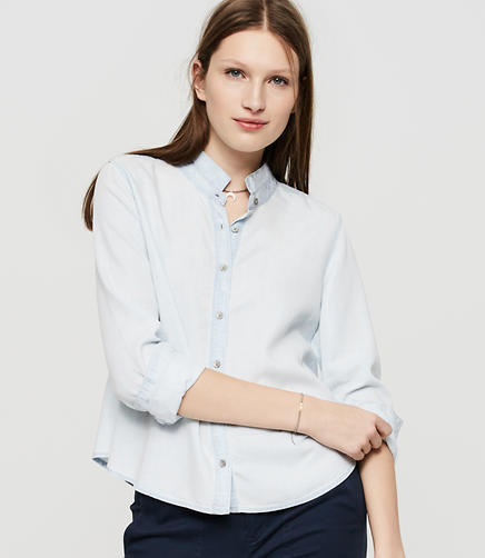 Image of Lou & Grey Swingy Chambray Button Down Shirt