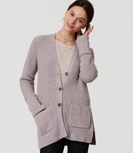 Image of Ribbed Side Slit Cardigan