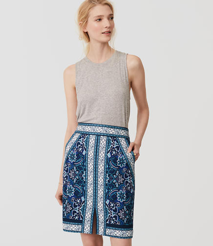 Image of Border Print Pencil Skirt