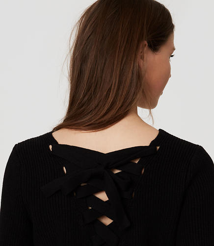 Image of Petite Lace Up Back Sweater