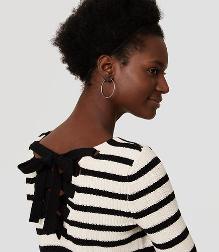 Image of Petite Striped Lace Up Back Sweater