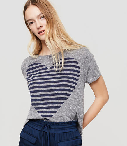 Image of Sundry Static Stripe Heart Tee