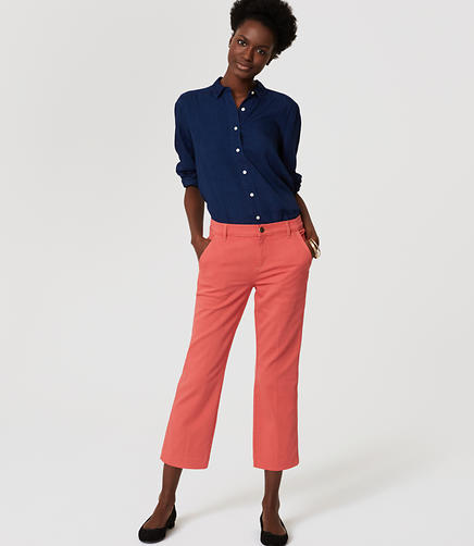 Image of Petite Modern Straight Crop Jeans in Chrysanthemum Red