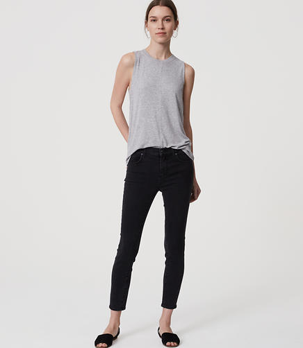 Image of Petite Crop Denim Leggings in Washed Black