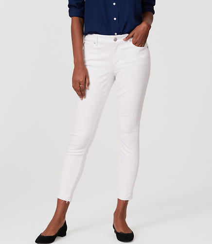 Image of Curvy Frayed Skinny Ankle Jeans in White