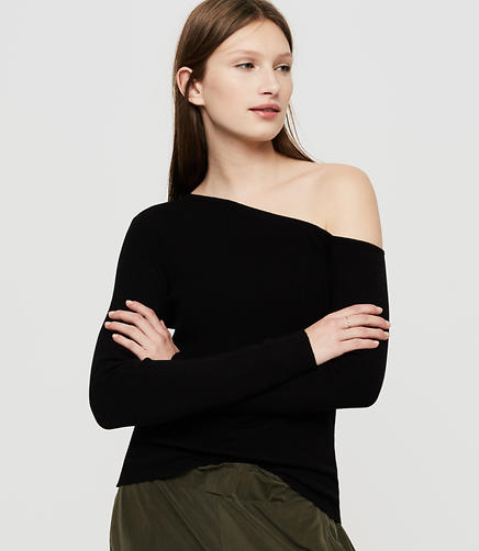 Image of Lou & Grey One Shoulder Ribknit Sweater