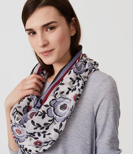 Image of Floral Stripe Infinity Scarf