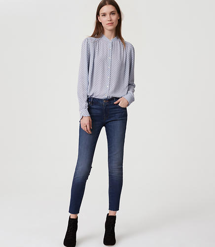 Image of Curvy Frayed Skinny Jeans in Classic Mid Vintage Wash