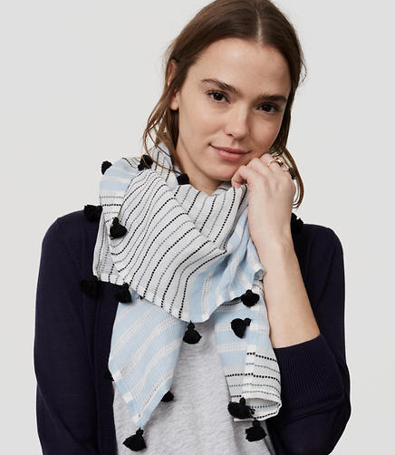 Image of Striped Square Tassel Scarf