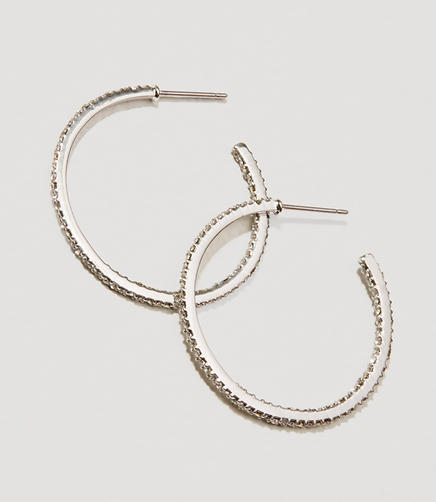 Image of Pave Crystal Hoop Earrings