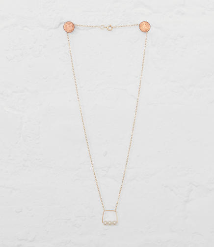 Image of Melissa McArthur Jewellery Small Square Pendant Necklace With White Pearls
