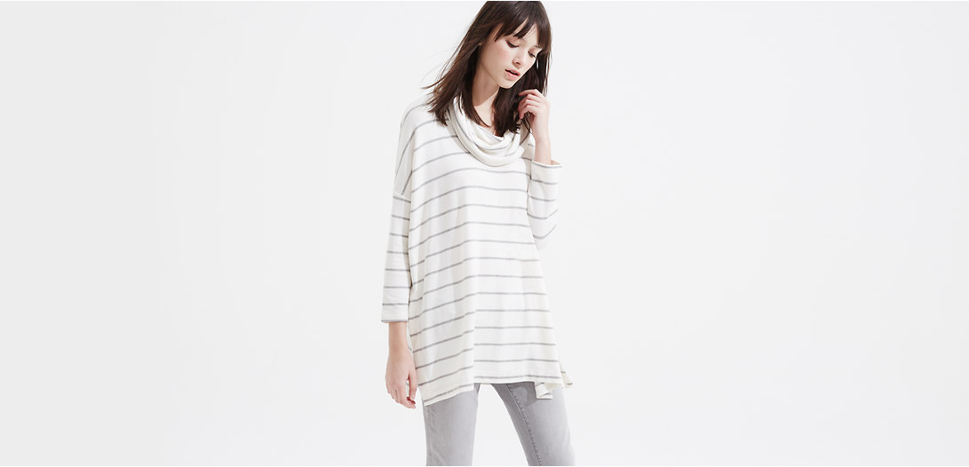 Primary Image of Lou & Grey Striped Signaturesoft Cowl Tunic