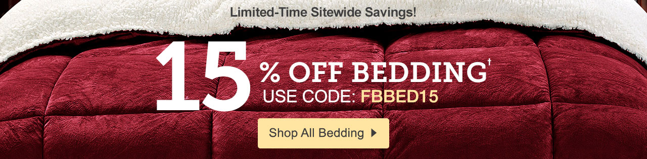 15% off Bedding with code FBBED15