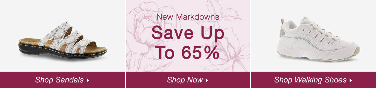 Shop Sandals, Walking Shoes and explore savings of up to 65% on our clearance tab!