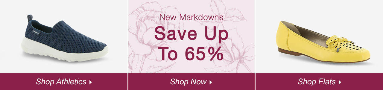 Shop Athletics, Flats and explore savings of up to 65% on our sale tab!