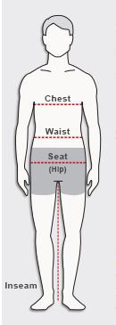 How to measure chest, natural waist, hip and inseam.