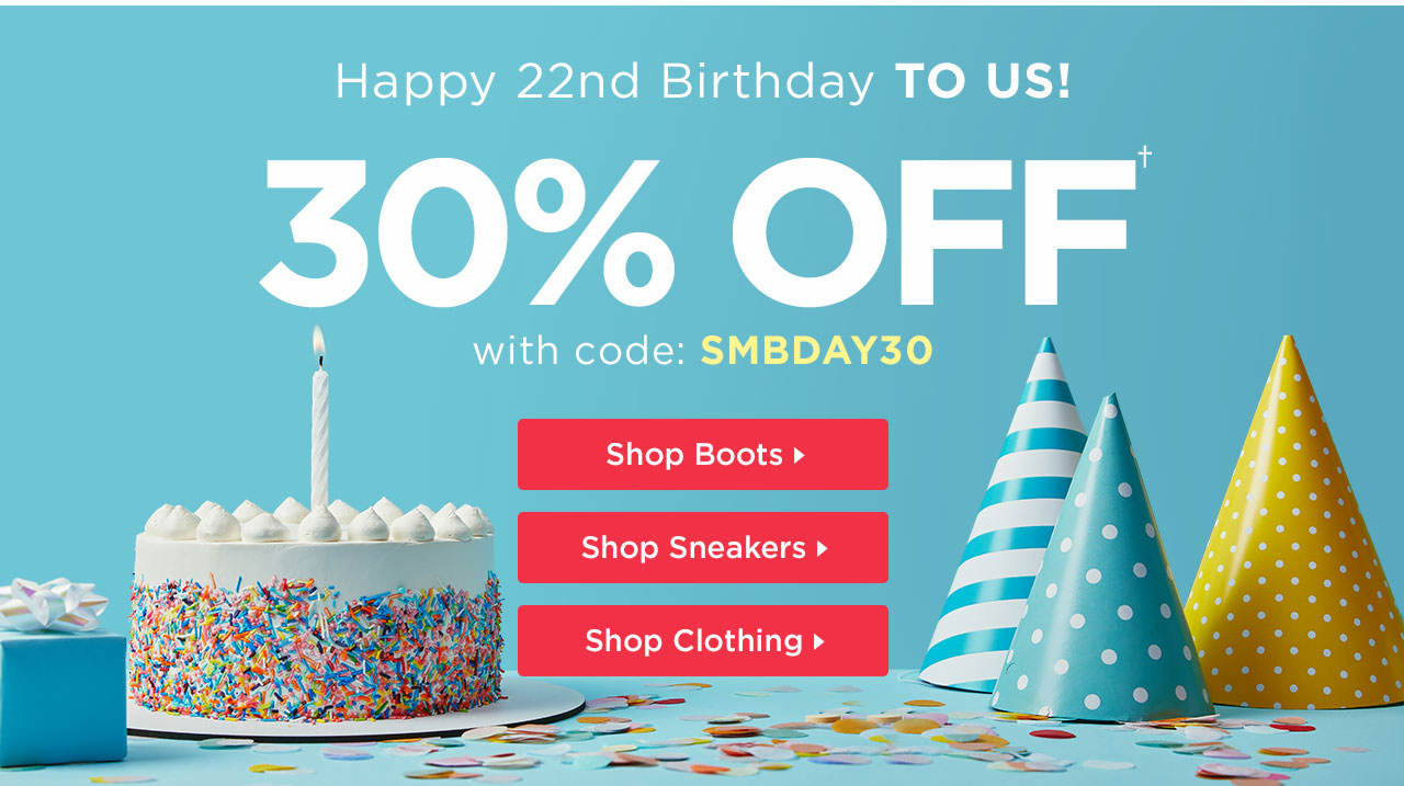 Happy Birthday To Us! 30% Off With Code: SMBDAY30