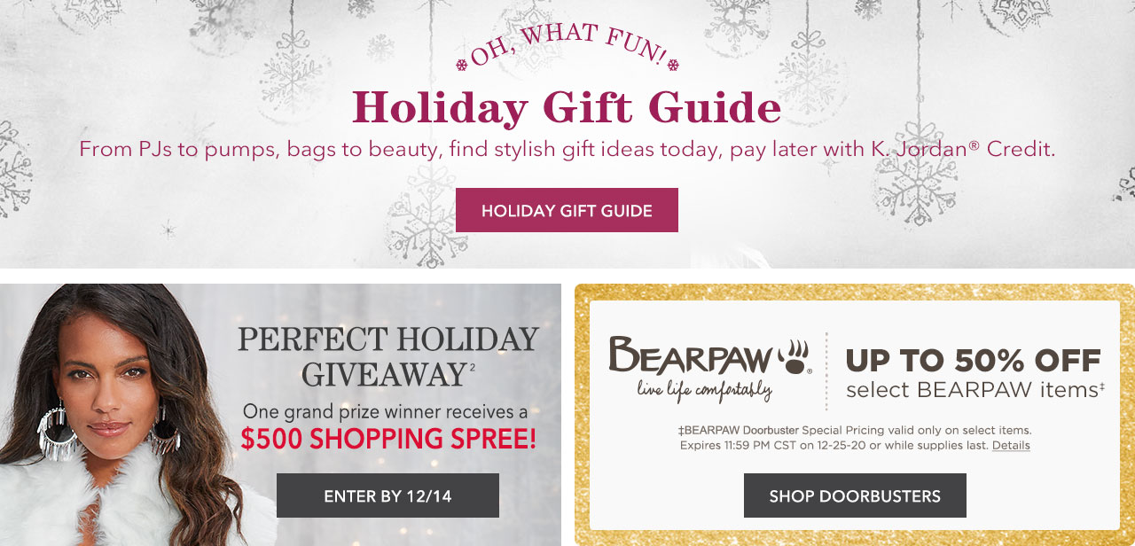 Shop Holiday Gift Guide, $500 Shopping Spree Giveaway, and BEARPAW Doorbusters