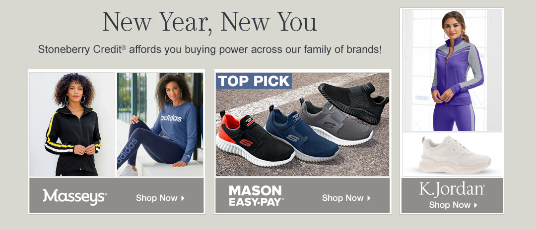 Use Stoneberry Credit to shop loungewear and athletics from our family of brands!