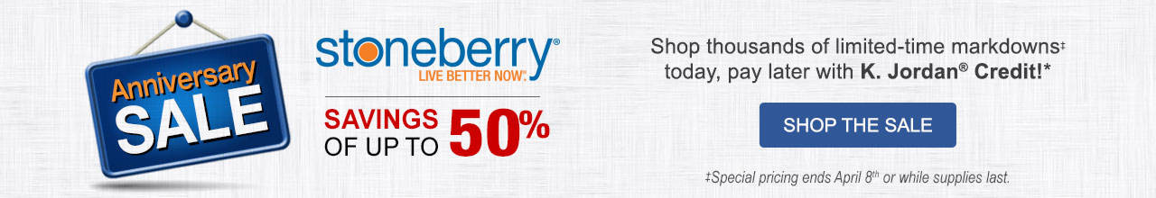 Shop Stoneberry's Anniversary Sale for thousands of limited-time markdowns today, pay later with K.Jordan Credit!