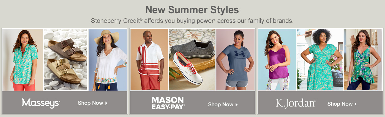 Use Stoneberry Credit to shop new summer arrivals from our family of brands!