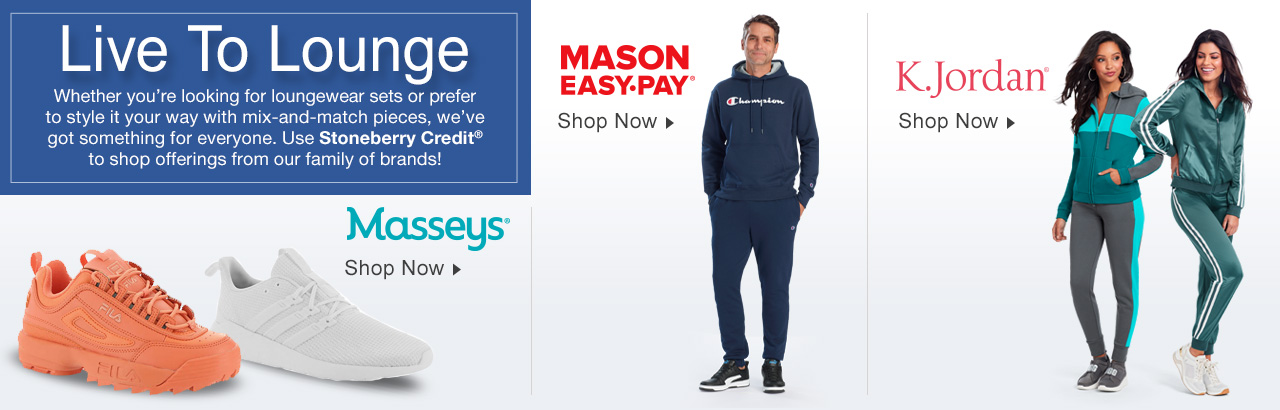 Use your Stoneberry Credit to shop loungewear, track suits and sneakers from our family of brands!