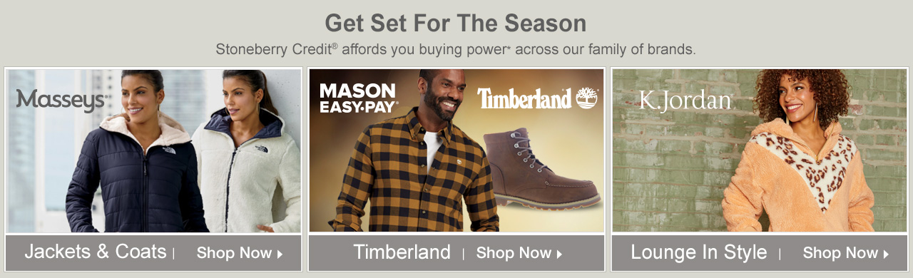 Use Stoneberry Credit to get set for the season with styles from our family of brands