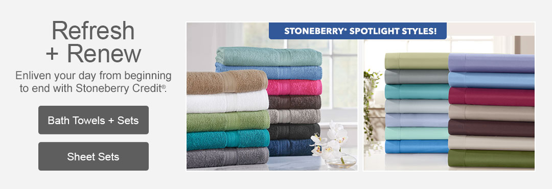 Enliven your day from beginning to end with bath towels and sheet sets from Stoneberry.