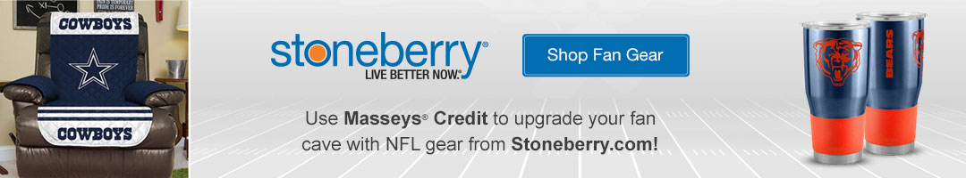 Shop thousands of NFL fan gear items on Stoneberry with Masseys Credit!