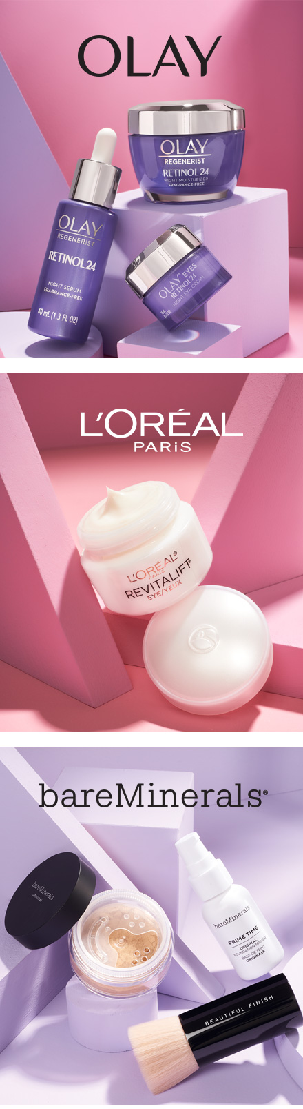 Shop Olay, L'Oreal and bareMinerals