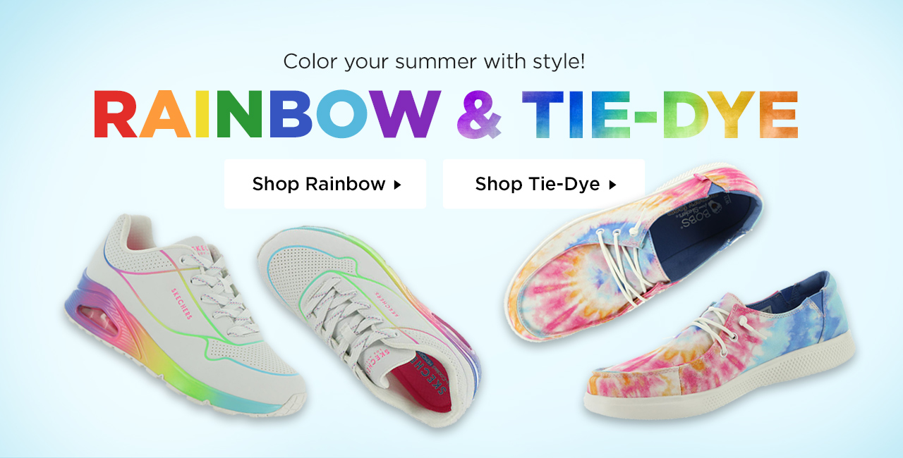Color your summer with style in rainbow and tie-dye! Shop Now