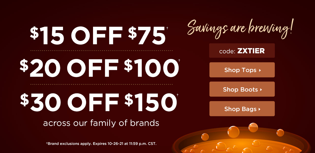 $15 Off $75, $20 Off $100 or $30 Off $150 With Code: ZXTIER Expires October 26th at 11:59 p.m. CST - Shop Now