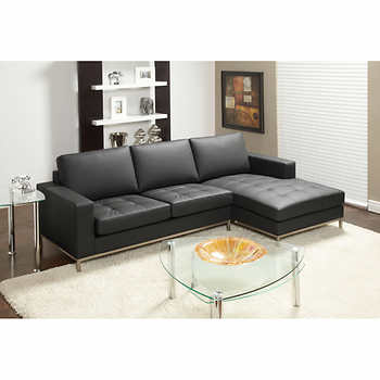 Amore Black Top Grain Leather Sofa with Right Hand Facing Chaise