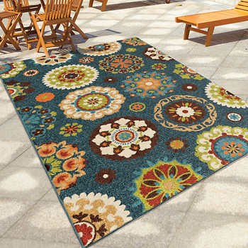Orian Rugs Outdoor Area Rug Collection Hubbard Admiral Blue