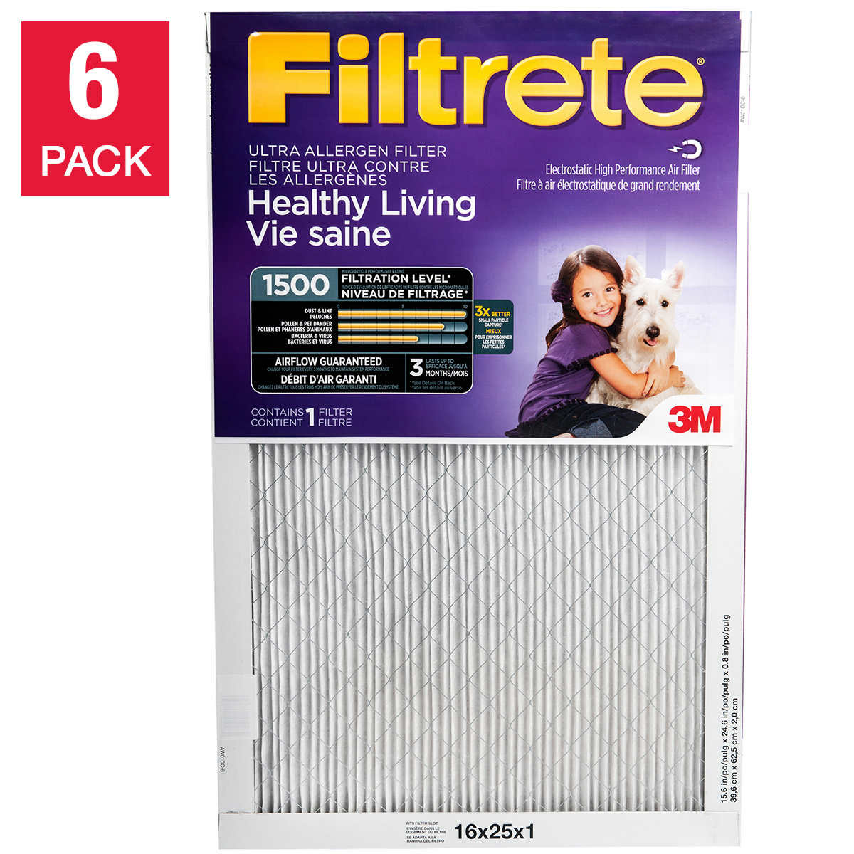 2 Packs Air Conditioner Filter Replacement 24 wide x 15 high x 1//4 thick