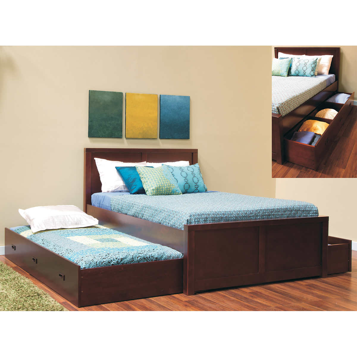Peyton Double Bed with Twin Trundle and Storage Drawer