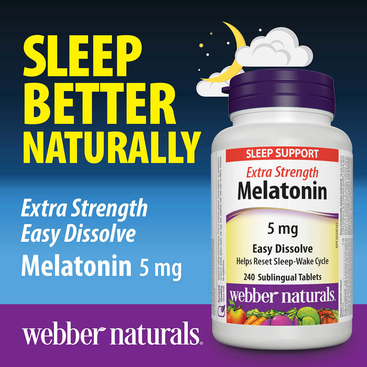 Webber Naturals 5mg Melatonin Extra Strength Easy Dissolve