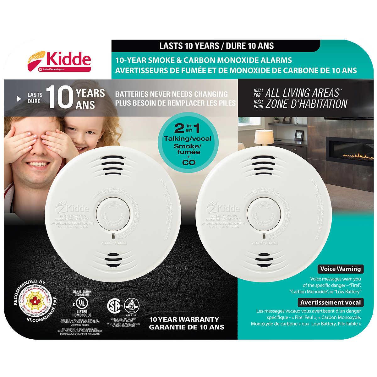 Kiddie Carbon Monoxide Smoke Combination Alarm Photo Electric Voice Alert 3-Pack