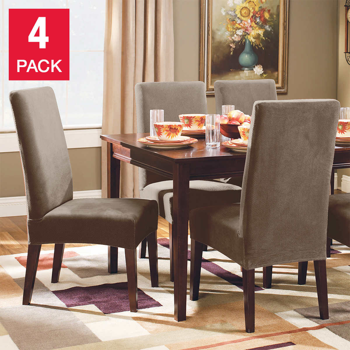 Surefit Stretch Pique Dining Chair Covers 4 Pack Costco
